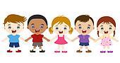 cute multicultural children hand in