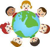 multicultural children hand in hand