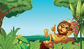 A king lion in the forest
