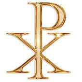 chi rho christian symbol isolated on white background