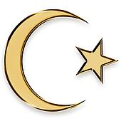 golden star and crescent islamic emblem
