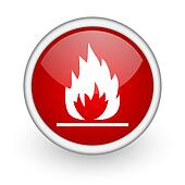 flames red circle web icon on white background