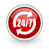 24/7 service red circle web icon on white background
