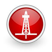 drilling red circle web icon on white background