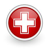 pharmacy red circle web icon on white background