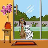 Dogs Begging At Door