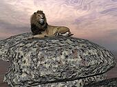 Lion resting - 3D render