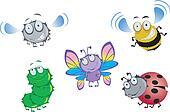 Five funny beetles