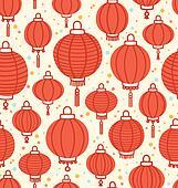 Chinese lanterns seamless pattern