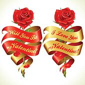 Ribbon banners in the shape of heart and red rose