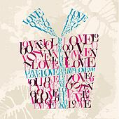 Valentine love text gift box