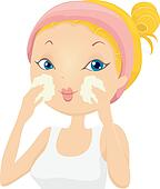 Girl Applying Facial Wash