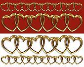 Valentine borders gold hearts