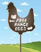 free range egg sign