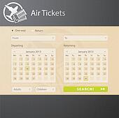Vector web interface of air tickets sale website
