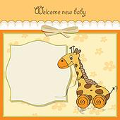Baby shower card with cute giraffe