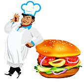Funny Chef  and  fresh hamburger
