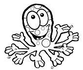 Waving Octopus Cartoon. B&W.