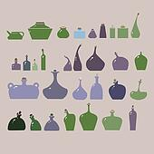 Vector illustration of bottles and glasses set.