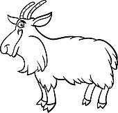 farm goat cartoon for coloring book