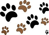 Black and Brown Paw Prints