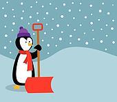 Penguin With Snow Shovel