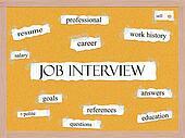 Job Interview Corkboard Word Concept