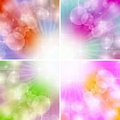 4 Color Lights Background With Boke