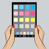 Pop Art Illustration of a hand with a Tablet PC