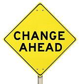 Yellow Warning Sign - Change Ahead - Isolated