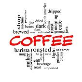 Coffee Word Cloud Concept in Red Caps