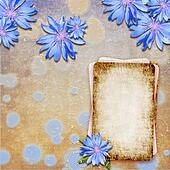 Grunge background with cornflowers