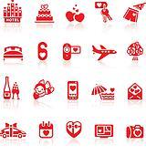 Set valentine's day red icons, romantic travel symbols