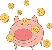 cartoon drawing of money coin falling on pig money box