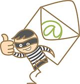 cartoon character of burglar getting e-mai content