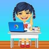 Vector happy smiling Asian schoolgirl