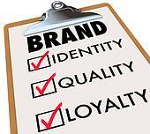 Brand Checklist Identity Quality Loyalty on Clipboard