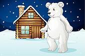 cabin and polar bear