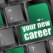 Wording your new career on computer keyboard