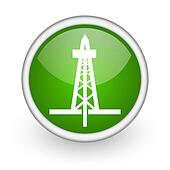 drilling green circle glossy web icon on white background