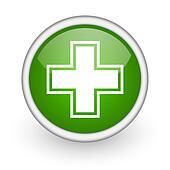 pharmacy green circle glossy web icon on white background