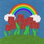 Tulip on green grass field with stitch style fabric background