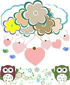 owls, birds, flowers, cloud and love heart