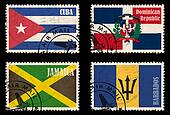 Set of stamps with flags from the Caribbean