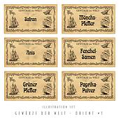 Illustration set spice labels, Orient #1