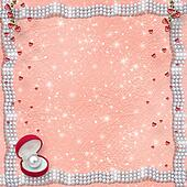 Card for anniversary or congratulation to St. Valentine's Day with hearts and pearls