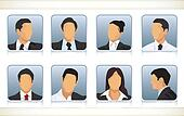 Eight faceless heads of businesspeople