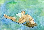 Feeding by a breast in the rain