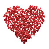 Red rose petals heart with clipping