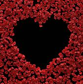 Red rose petals heart background